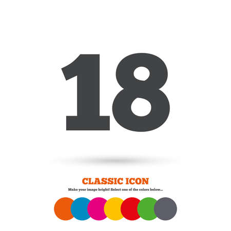 18 years old: 18 years old sign. Adults content icon. Classic flat icon. Colored circles. Vector