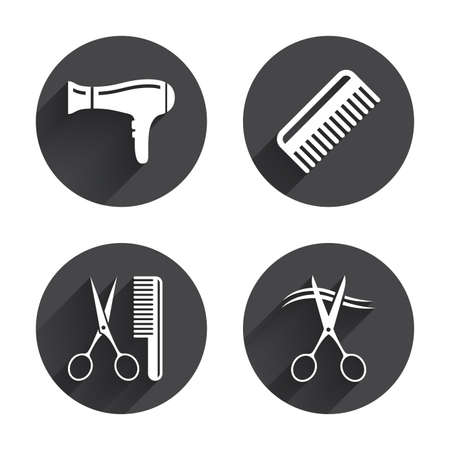 blow drying: Hairdresser icons. Scissors cut hair symbol. Comb hair with hairdryer sign. Circles buttons with long flat shadow. Vector Illustration