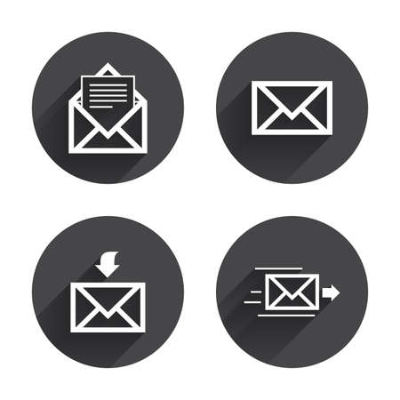 outbox: Mail envelope icons. Message document delivery symbol. Post office letter signs. Inbox and outbox message icons. Circles buttons with long flat shadow. Vector Illustration
