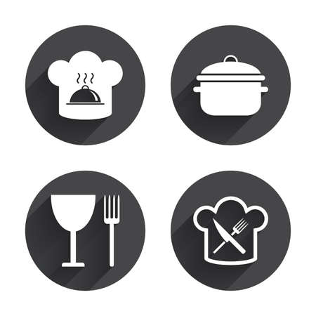 crosswise: Chief hat and cooking pan icons. Crosswise fork and knife signs. Boil or stew food symbols. Circles buttons with long flat shadow. Vector Illustration