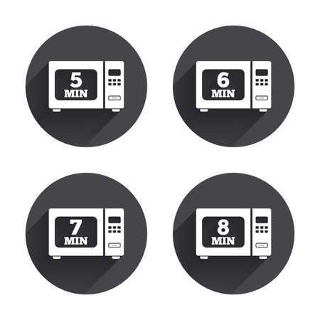 6 7: Microwave oven icons. Cook in electric stove symbols. Heat 5, 6, 7 and 8 minutes signs. Circles buttons with long flat shadow. Vector