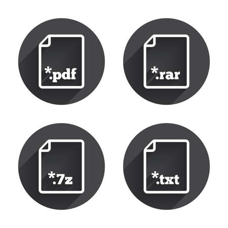 rar: Download document icons. File extensions symbols. PDF, RAR, 7z and TXT signs. Circles buttons with long flat shadow. Vector