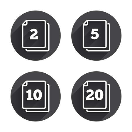 2 5: In pack sheets icons. Quantity per package symbols. 2, 5, 10 and 20 paper units in the pack signs. Circles buttons with long flat shadow. Vector