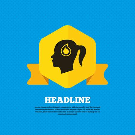 woman back of head: Testa con goccia di sangue segno icona. Donna femminile simbolo testa umana. Tag etichetta gialla. Circoli senza soluzione di modello sul retro. Vettore Vettoriali