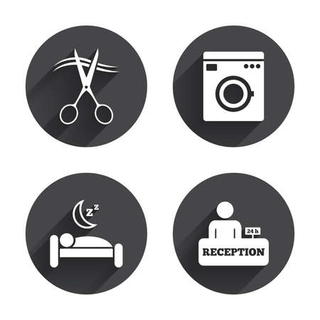 quiet: Hotel services icons. Washing machine or laundry sign. Hairdresser or barbershop symbol. Reception registration table. Quiet sleep. Circles buttons with long flat shadow. Vector Illustration