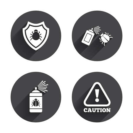 Bug disinfection icons. Caution attention and shield symbols. Insect fumigation spray sign. Circles buttons with long flat shadow. Vector Illustration