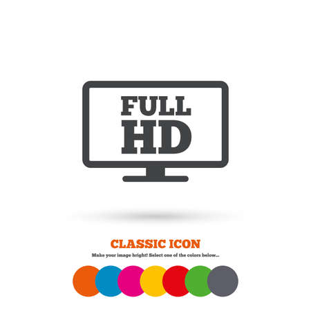 full hd: Full hd widescreen tv sign icon. High-definition symbol. Classic flat icon. Colored circles. Vector