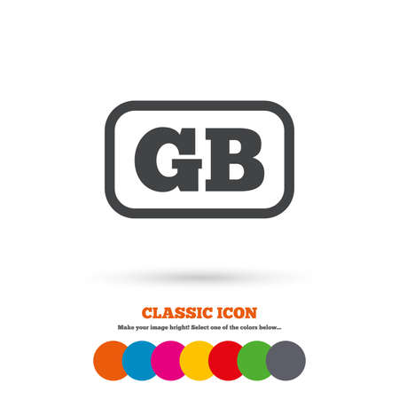 gb: British language sign icon. GB Great Britain translation symbol with frame. Classic flat icon. Colored circles. Vector
