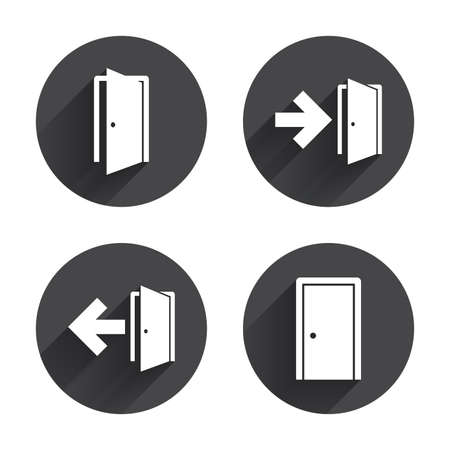 fire exit: Doors icons. Emergency exit with arrow symbols. Fire exit signs. Circles buttons with long flat shadow. Vector