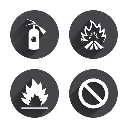fire extinguisher sign: Fire flame icons. Fire extinguisher sign. Prohibition stop symbol. Circles buttons with long flat shadow. Vector