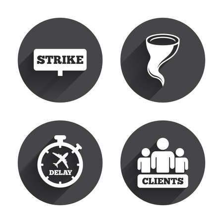 the delayed: Strike icon. Storm bad weather and group of people signs. Delayed flight symbol. Circles buttons with long flat shadow. Vector