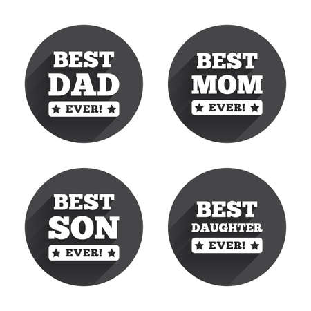 dad son: Best mom and dad, son and daughter icons. Awards with exclamation mark symbols. Circles buttons with long flat shadow. Vector
