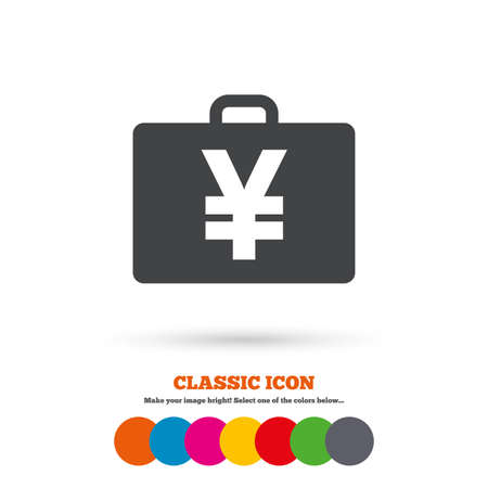jpy: Case with Yen JPY sign icon. Briefcase button. Classic flat icon. Colored circles. Vector