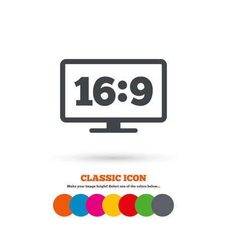 aspect: Aspect ratio 16:9 widescreen tv sign icon. Monitor symbol. Classic flat icon. Colored circles. Vector Illustration