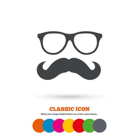 口ひげとめがねの記号アイコン。流行に敏感なシンボルです。古典的なフラット アイコン。色のついた丸。ベクトル