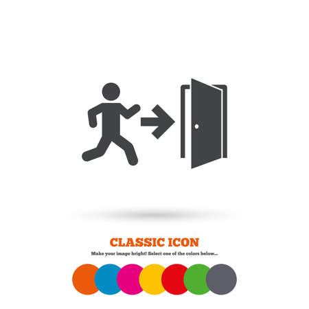 emergency exit sign icon: Emergency exit with human figure sign icon. Door with right arrow symbol. Fire exit. Classic flat icon. Colored circles. Vector Illustration