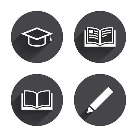 higher education: Pencil and open book icons. Graduation cap symbol. Higher education learn signs. Circles buttons with long flat shadow. Vector Illustration
