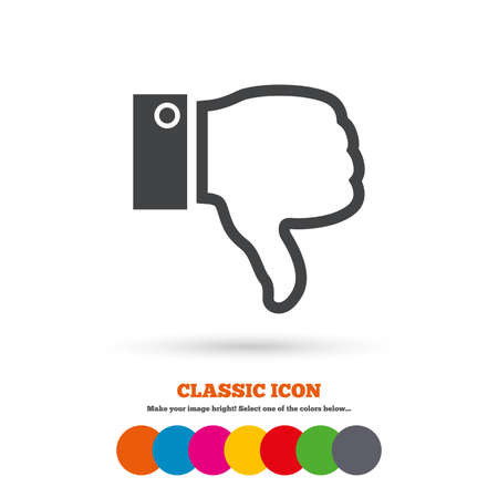 Dislike sign icon. Thumb down sign. Hand finger down symbol. Classic flat icon. Colored circles. Vector
