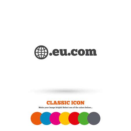 subdomain: Domain EU.COM sign icon. Internet subdomain symbol with globe. Classic flat icon. Colored circles. Vector Illustration