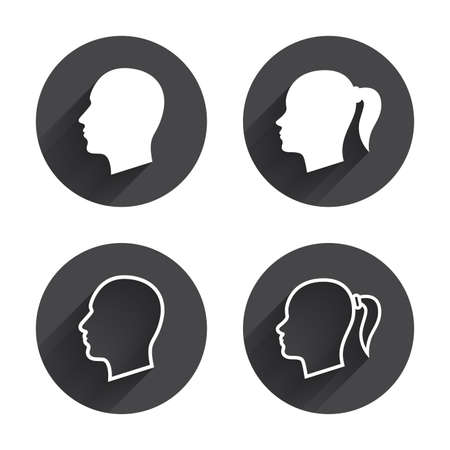 pigtail: Head icons. Male and female human symbols. Woman with pigtail signs. Circles buttons with long flat shadow. Vector