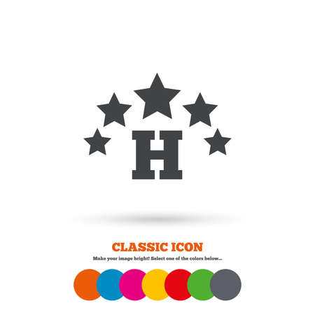 star icon: Five star Hotel apartment sign icon. Travel rest place symbol. Classic flat icon. Colored circles. Vector
