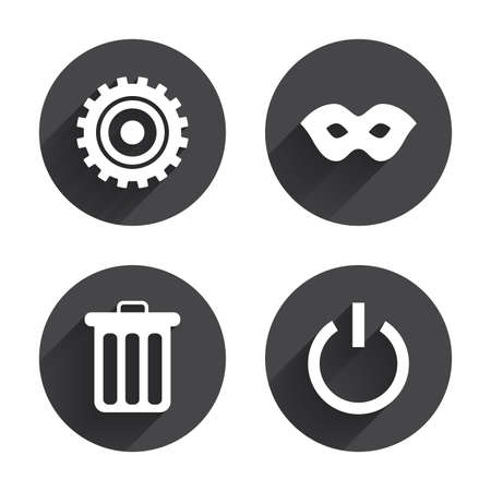 anonymous: Anonymous mask and cogwheel gear icons. Recycle bin delete and power sign symbols. Circles buttons with long flat shadow. Vector Illustration