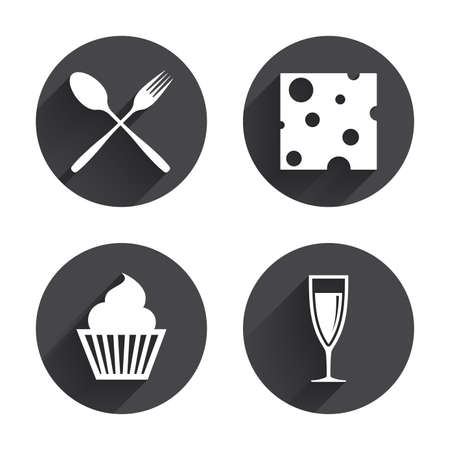 wine and cheese: Food icons. Muffin cupcake symbol. Fork and spoon sign. Glass of champagne or wine. Slice of cheese. Circles buttons with long flat shadow. Vector