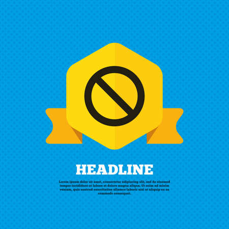 not allowed: Blacklist sign icon. User not allowed symbol. Yellow label tag. Circles seamless pattern on back. Vector Illustration