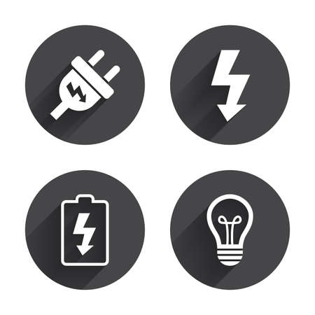 spiral cord: Electric plug icon. Lamp bulb and battery symbols. Low electricity and idea signs. Circles buttons with long flat shadow. Vector Illustration