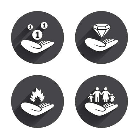 protection incendie: Helping hands icons. Financial money savings, family life insurance symbols. Diamond brilliant sign. Fire protection. Circles buttons with long flat shadow. Vector