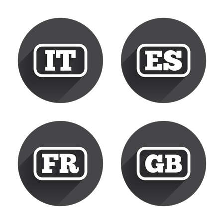 vector es: Language icons. IT, ES, FR and GB translation symbols. Italy, Spain, France and England languages. Circles buttons with long flat shadow. Vector