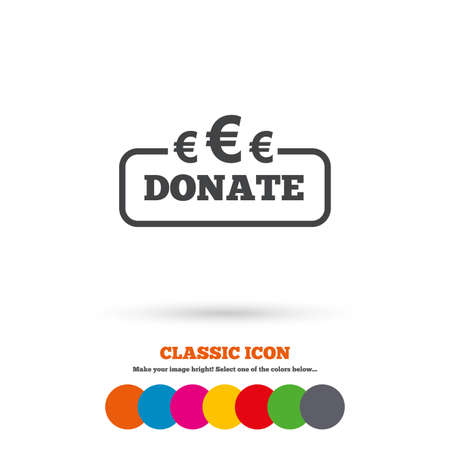 eur: Donate sign icon. Euro eur symbol. Classic flat icon. Colored circles. Vector Illustration