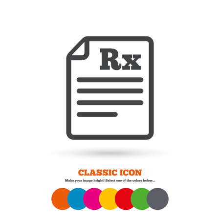 rx: Medical prescription Rx sign icon. Pharmacy or medicine symbol. Classic flat icon. Colored circles. Vector
