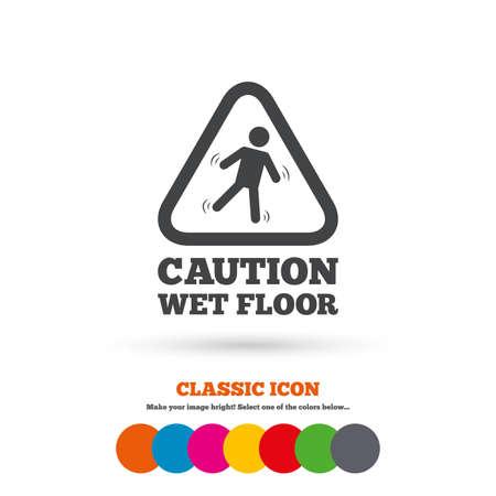 wet floor caution sign: Precauci�n mojada icono de se�alizaci�n en el suelo. Caer humano s�mbolo tri�ngulo. Icono plana Classic. C�rculos coloreados. Vector