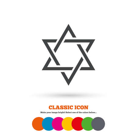 jewish star: Star of David sign icon. Symbol of Israel. Jewish hexagram symbol. Shield of David. Classic flat icon. Colored circles. Vector