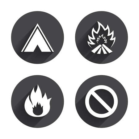 long weekend: Tourist camping tent icon. Fire flame and stop prohibition sign symbols. Circles buttons with long flat shadow. Vector Illustration