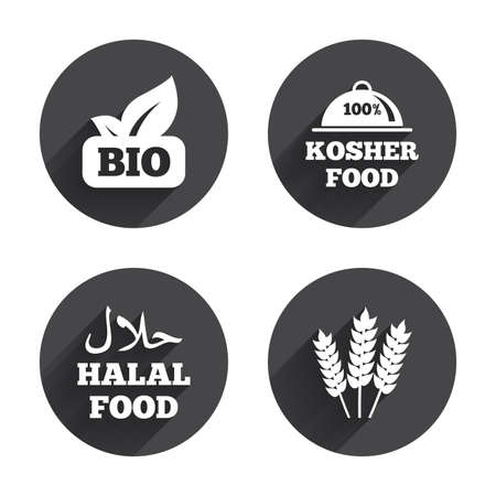 kosher: Natural Bio food icons. Halal and 100% Kosher signs. Gluten free agricultural symbol. Circles buttons with long flat shadow. Vector Illustration