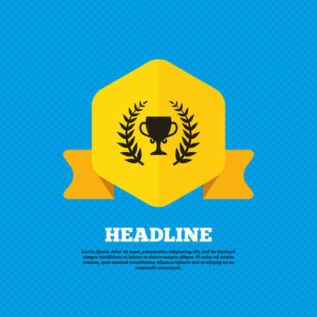 trophy winner: First place cup award sign icon. Prize for winner symbol. Laurel Wreath. Yellow label tag. Circles seamless pattern on back. Vector Illustration