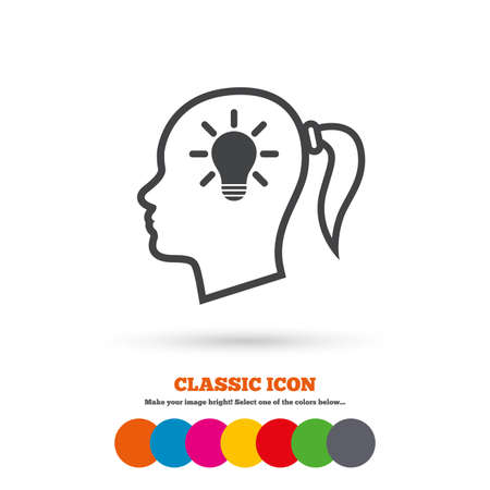 pigtail: Head with lamp bulb sign icon. Female woman human head idea with pigtail symbol. Classic flat icon. Colored circles. Vector Illustration