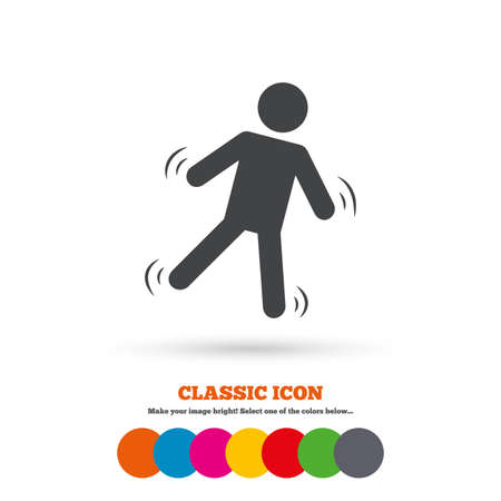 falling man: Man falls sign icon. Falling down human symbol. Caution slippery. Classic flat icon. Colored circles. Vector
