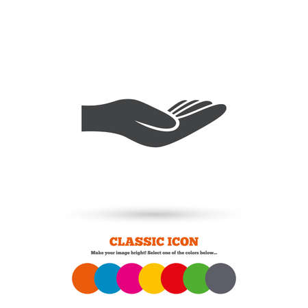 endowment: Donation hand sign icon. Charity or endowment symbol. Human helping hand palm. Classic flat icon. Colored circles. Vector Illustration