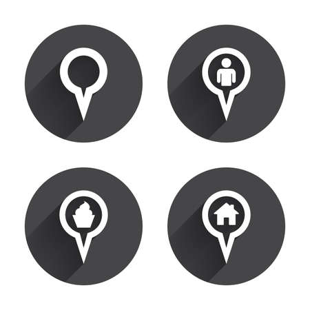 grey house: Map circle pointer icons. Home, food and user location symbols. Restaurant and cupcake signs. You are here. Circles buttons with long flat shadow. Vector