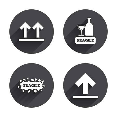 package sending: Fragile icons. Delicate package delivery signs. This side up arrows symbol. Circles buttons with long flat shadow. Vector Illustration