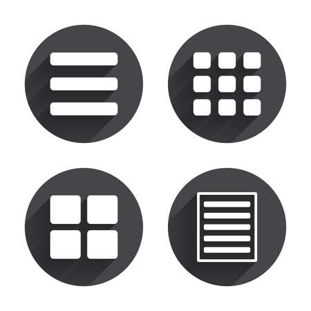 List menu icons. Content view options symbols. Thumbnails grid or Gallery view. Circles buttons with long flat shadow. Vector
