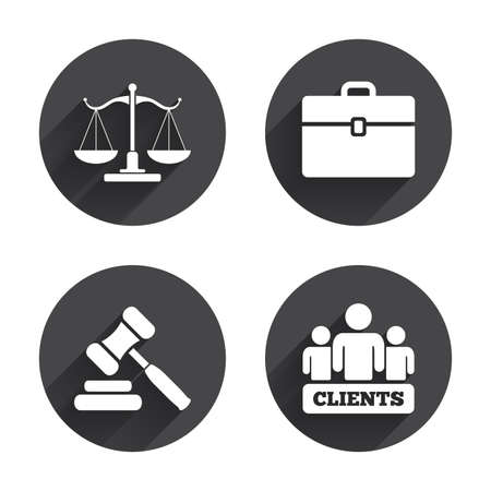 icon buttons: Scales of Justice icon. Group of clients symbol. Auction hammer sign. Law judge gavel. Court of law. Circles buttons with long flat shadow. Vector Illustration