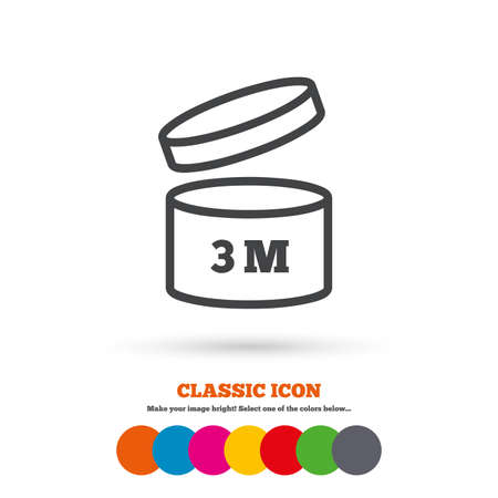 quality of life: After opening use 3 months sign icon. Expiration date. Classic flat icon. Colored circles. Vector