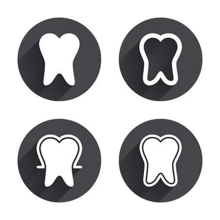 odontology: Tooth enamel protection icons. Dental care signs. Healthy teeth symbols. Circles buttons with long flat shadow. Vector
