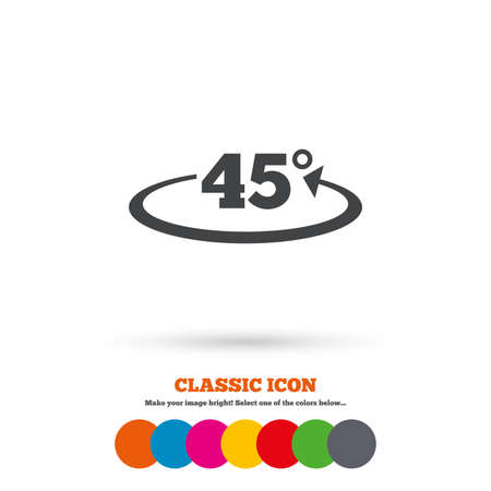 math icon: Angle 45 degrees sign icon. Geometry math symbol. Classic flat icon. Colored circles. Vector