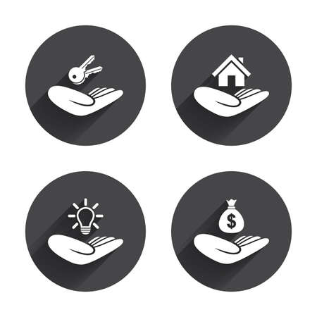 patent key: Helping hands icons. Financial money savings insurance symbol. Home house or real estate and lamp, key signs. Circles buttons with long flat shadow. Vector Illustration