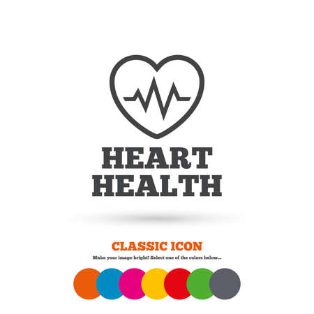 heart health: Heartbeat sign icon. Heart health cardiogram check symbol. Classic flat icon. Colored circles. Vector